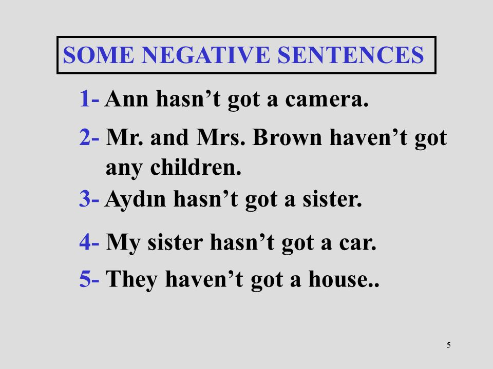 5 SOME NEGATIVE SENTENCES 1- Ann hasn't got a camera. 2- Mr. and Mrs. Brown haven't got any children. 3- Aydın hasn't got a sister. 4- My sister hasn'