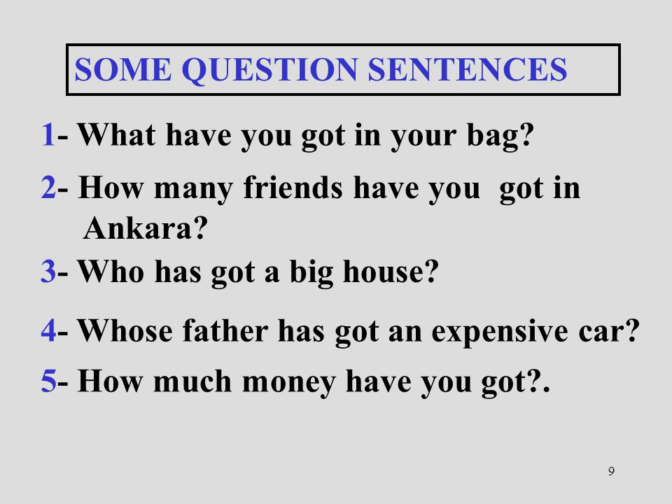 9 SOME QUESTION SENTENCES 1- What have you got in your bag? 2- How many friends have you got in Ankara? 3- Who has got a big house? 4- Whose father ha