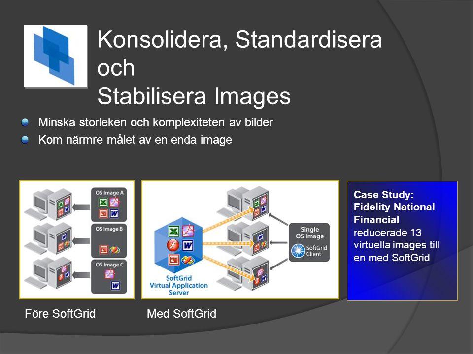 Konsolidera, Standardisera och Stabilisera Images Minska storleken och komplexiteten av bilder Kom närmre målet av en enda image Case Study: Fidelity