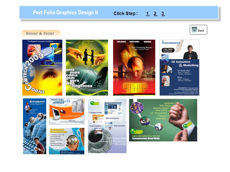 Back Port Folio Graphics Design II 123Click Step :