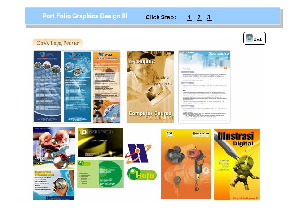 Back Port Folio Graphics Design III 123Click Step :