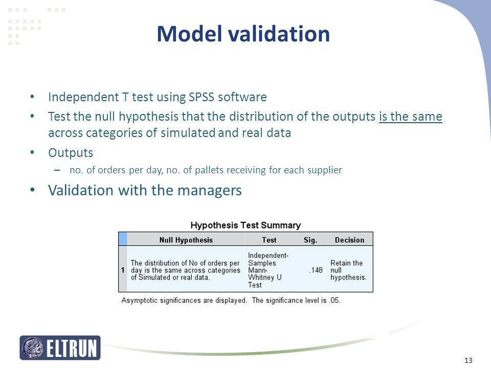 Model validation • Independent T test using SPSS software • Test the null hypothesis that the distribution of the outputs is the same across categorie