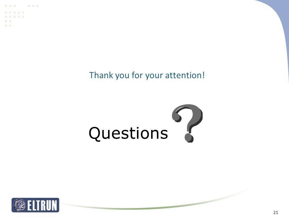 Thank you for your attention! Questions 21