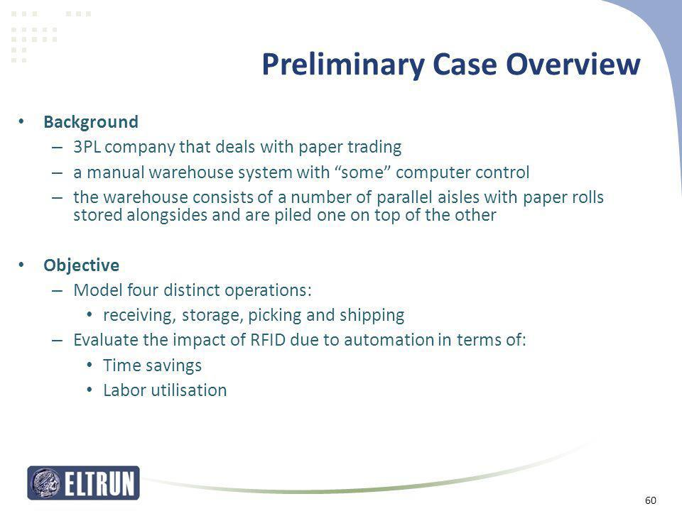 """Preliminary Case Overview • Background – 3PL company that deals with paper trading – a manual warehouse system with """"some"""" computer control – the ware"""