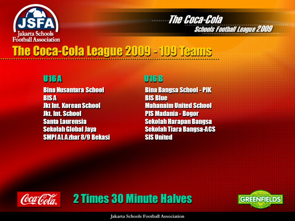 The Coca-Cola League 2009 - 109 Teams Bina Nusantara School BIS A Jkt Int.