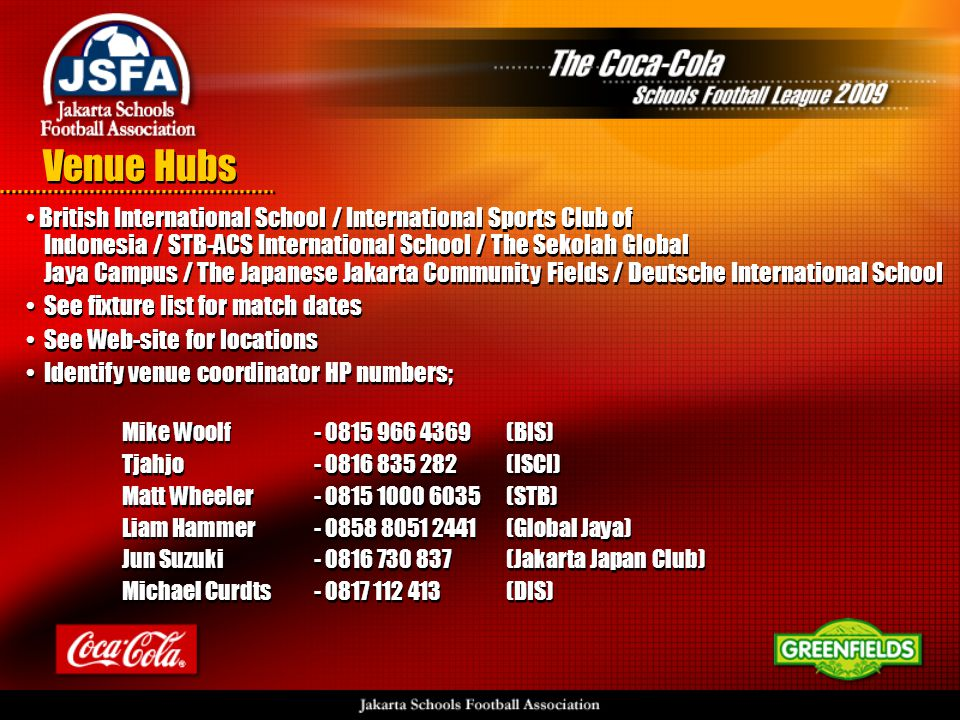 • British International School / International Sports Club of Indonesia / STB-ACS International School / The Sekolah Global Jaya Campus / The Japanese Jakarta Community Fields / Deutsche International School • See fixture list for match dates • See Web-site for locations • Identify venue coordinator HP numbers; Mike Woolf - 0815 966 4369 (BIS) Tjahjo - 0816 835 282(ISCI) Matt Wheeler - 0815 1000 6035(STB) Liam Hammer - 0858 8051 2441 (Global Jaya) Jun Suzuki- 0816 730 837(Jakarta Japan Club) Michael Curdts- 0817 112 413 (DIS) • British International School / International Sports Club of Indonesia / STB-ACS International School / The Sekolah Global Jaya Campus / The Japanese Jakarta Community Fields / Deutsche International School • See fixture list for match dates • See Web-site for locations • Identify venue coordinator HP numbers; Mike Woolf - 0815 966 4369 (BIS) Tjahjo - 0816 835 282(ISCI) Matt Wheeler - 0815 1000 6035(STB) Liam Hammer - 0858 8051 2441 (Global Jaya) Jun Suzuki- 0816 730 837(Jakarta Japan Club) Michael Curdts- 0817 112 413 (DIS) Venue Hubs