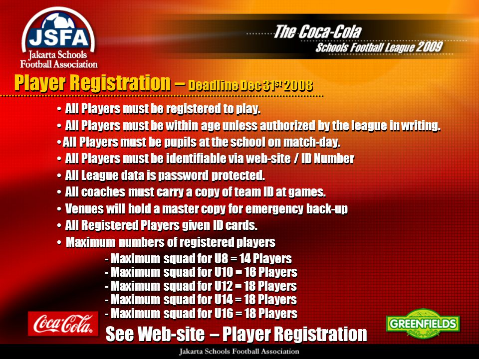 Player Registration – Deadline Dec 31 st 2008 • All Players must be registered to play.