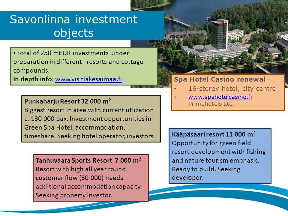 Savonlinna investment objects Spa Hotel Casino renewal • 16-storey hotel, city centre • www.spahotelcasino.fi Primehotels Ltd.