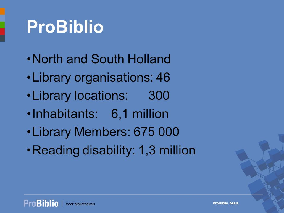 voor bibliotheken ProBiblio basis ProBiblio •North and South Holland •Library organisations: 46 •Library locations: 300 •Inhabitants: 6,1 million •Library Members: 675 000 •Reading disability: 1,3 million