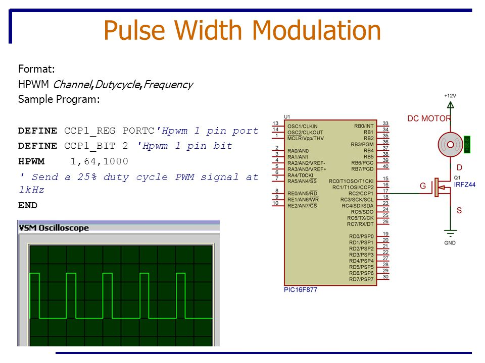 Pulse Width Modulation Format: HPWM Channel,Dutycycle,Frequency Sample Program: DEFINE CCP1_REG PORTC Hpwm 1 pin port DEFINE CCP1_BIT 2 Hpwm 1 pin bit HPWM 1,64,1000 Send a 25% duty cycle PWM signal at 1kHz END