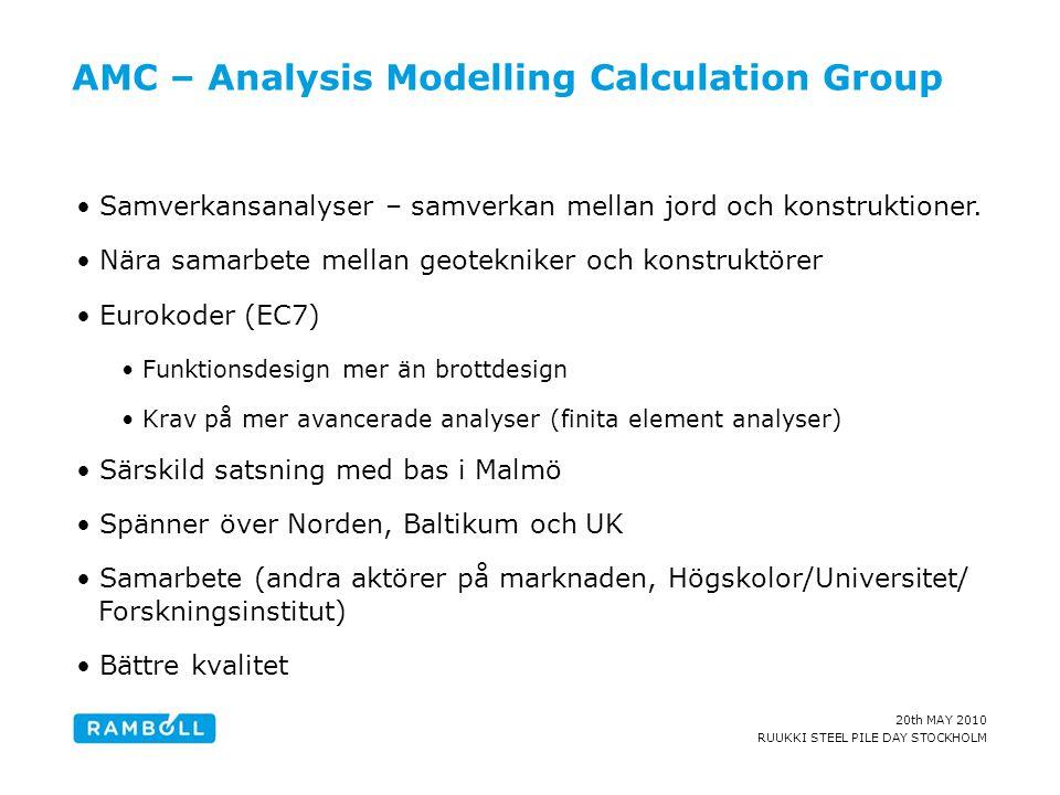 20th MAY 2010 RUUKKI STEEL PILE DAY STOCKHOLM AMC – Analysis Modelling Calculation Group •Samverkansanalyser – samverkan mellan jord och konstruktione