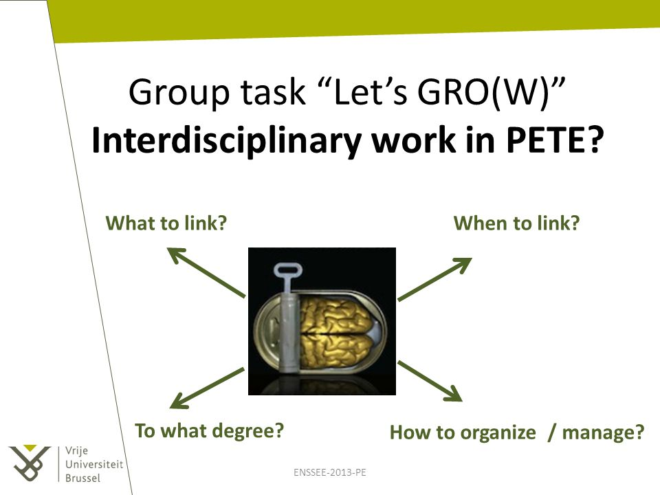ENSSEE-2013-PE Group task Let's GRO(W) Interdisciplinary work in PETE.