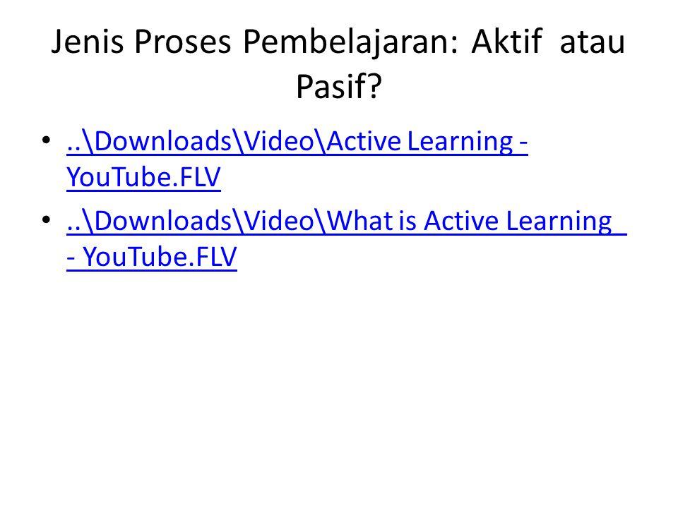 Jenis Proses Pembelajaran: Aktif atau Pasif.