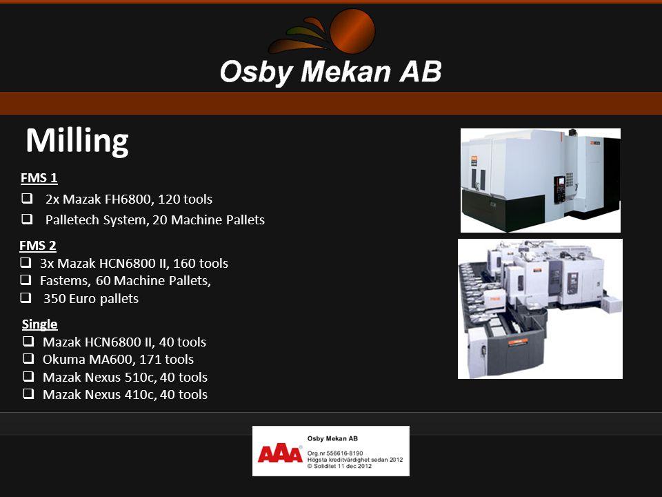 Milling FMS 1  2x Mazak FH6800, 120 tools  Palletech System, 20 Machine Pallets FMS 2  3x Mazak HCN6800 II, 160 tools  Fastems, 60 Machine Pallets
