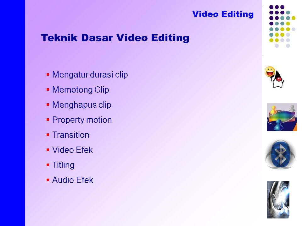 created by E.Nirmala Teknik Dasar Video Editing Video Editing  Mengatur durasi clip  Memotong Clip  Menghapus clip  Property motion  Transition  Video Efek  Titling  Audio Efek