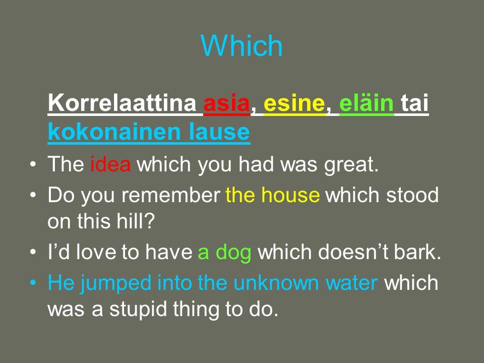 Which Korrelaattina asia, esine, eläin tai kokonainen lause •The idea which you had was great.