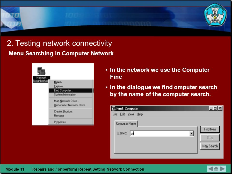 1.Checking the results of repair network connection Checking network connectivity is re-checking re-re-action from the beginning of the process include: a.