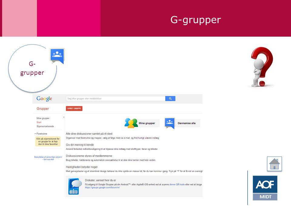 G-grupper G- grupper G- grupper