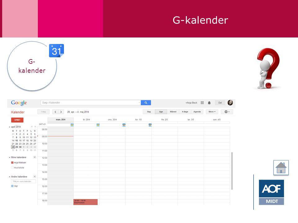 G-kalender G- kalender G- kalender