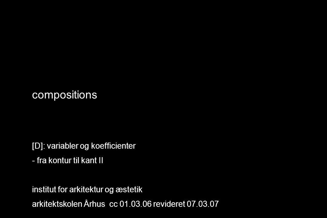 compositions [D]: variabler og koefficienter - fra kontur til kant II institut for arkitektur og æstetik arkitektskolen Århus cc 01.03.06 revideret 07.03.07