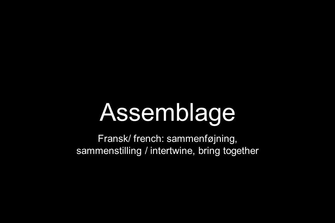 Assemblage Fransk/ french: sammenføjning, sammenstilling / intertwine, bring together