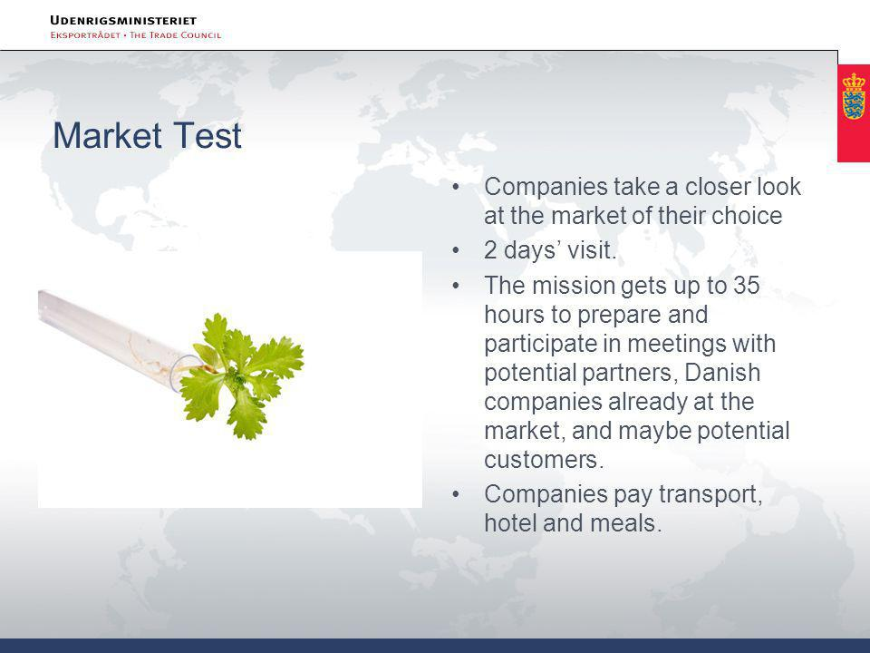 Market Test •Companies take a closer look at the market of their choice •2 days' visit.