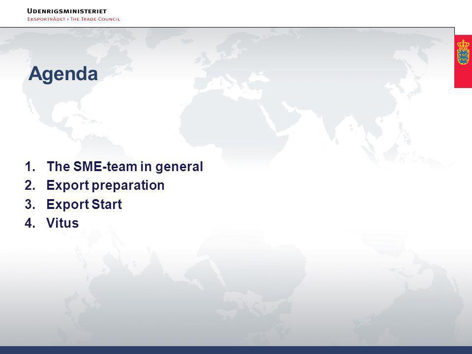 Agenda 1.The SME-team in general 2.Export preparation 3.Export Start 4.Vitus