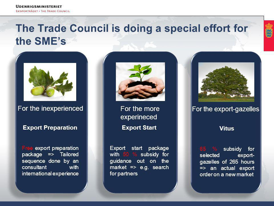 The Trade Council is doing a special effort for the SME's For the inexperienced Export Preparation Free export preparation package => Tailored sequence done by an consultant with international experience For the more experineced Export Start Export start package with 50 % subsidy for guidance out on the market => e.g.