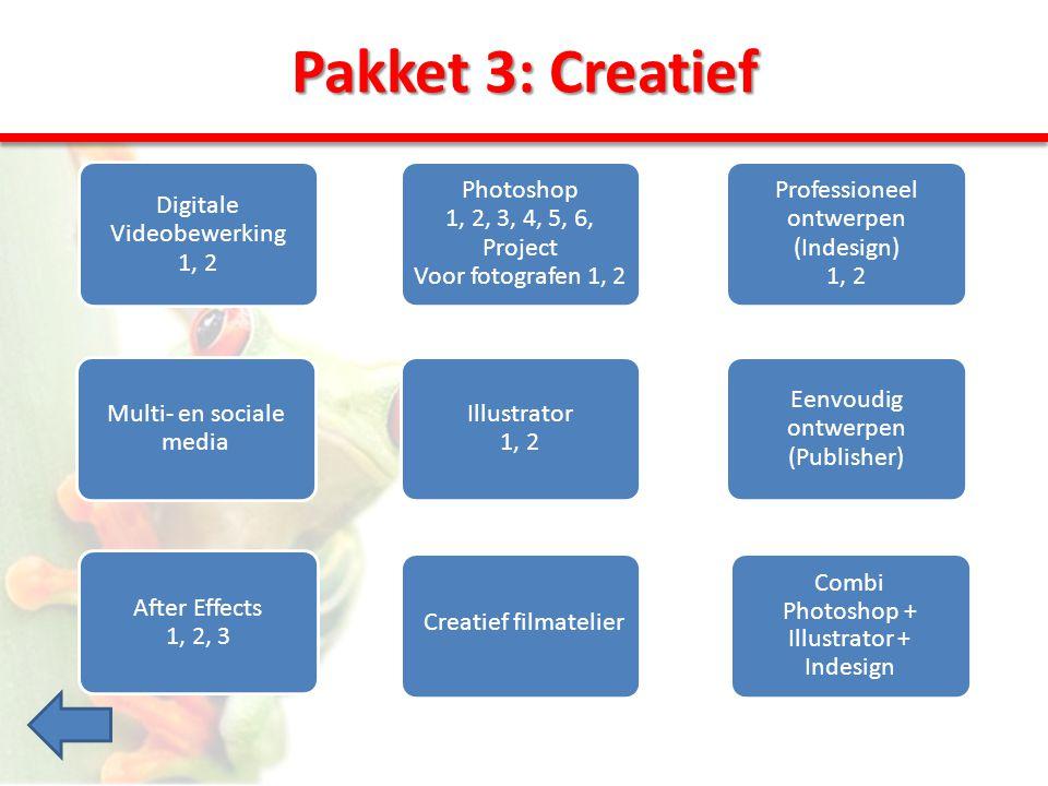 Pakket 3: Creatief Digitale Videobewerking 1, 2 Multi- en sociale media Professioneel ontwerpen (Indesign) 1, 2 Eenvoudig ontwerpen (Publisher) Illustrator 1, 2 Photoshop 1, 2, 3, 4, 5, 6, Project Voor fotografen 1, 2 After Effects 1, 2, 3 Creatief filmatelier Combi Photoshop + Illustrator + Indesign
