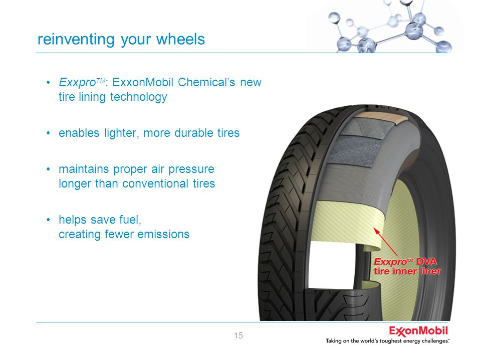 15 reinventing your wheels •Exxpro TM : ExxonMobil Chemical's new tire lining technology •enables lighter, more durable tires •maintains proper air pr
