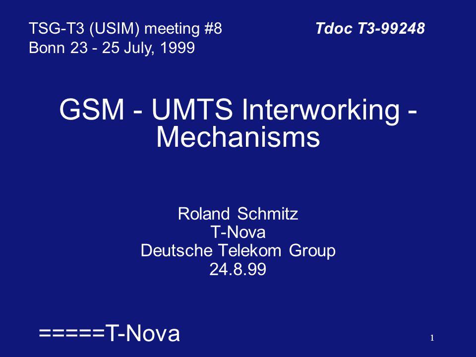  =====T-Nova 1 GSM - UMTS Interworking - Mechanisms Roland Schmitz T-Nova Deutsche Telekom Group 24.8.99 TSG-T3 (USIM) meeting #8Tdoc T3-99248 Bonn 23 - 25 July, 1999