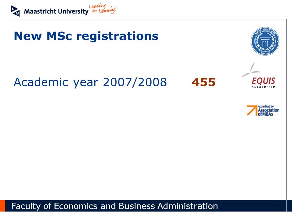 Faculty of Economics and Business Administration New MSc registrations Academic year 2007/2008455