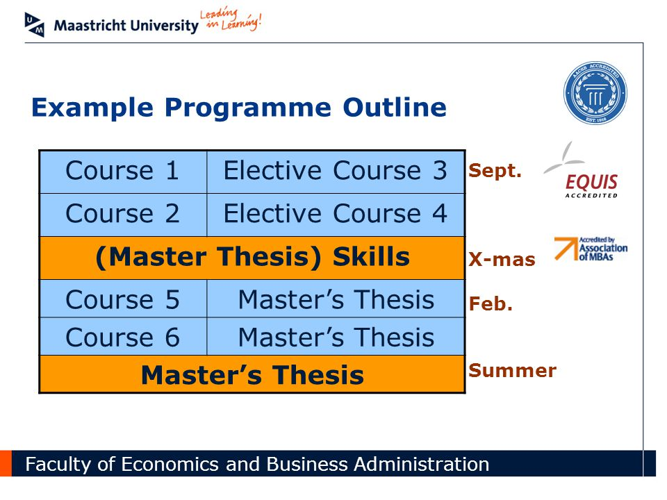 Faculty of Economics and Business Administration Course 1Elective Course 3 Course 2Elective Course 4 (Master Thesis) Skills Course 5Master's Thesis Course 6Master's Thesis Example Programme Outline Sept.