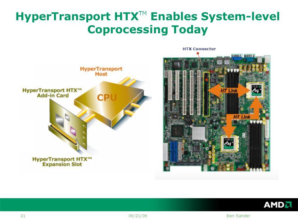 06/21/06Ben Sander 21 HyperTransport HTX TM Enables System-level Coprocessing Today