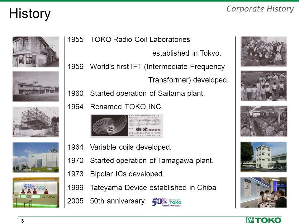 3 History 1955 TOKO Radio Coil Laboratories established in Tokyo.