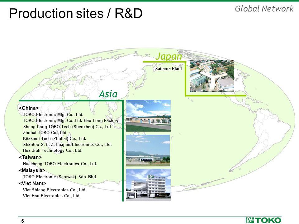 5 Global Network Japan Saitama Plant Asia TOKO Electronic Mfg. Co., Ltd. TOKO Electronic Mfg. Co.,Ltd. Bao Long Factory Sheng Long TOKO Tech (Shenzhen