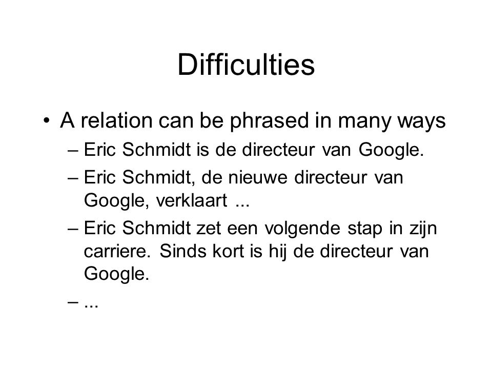 Difficulties •A relation can be phrased in many ways –Eric Schmidt is de directeur van Google.