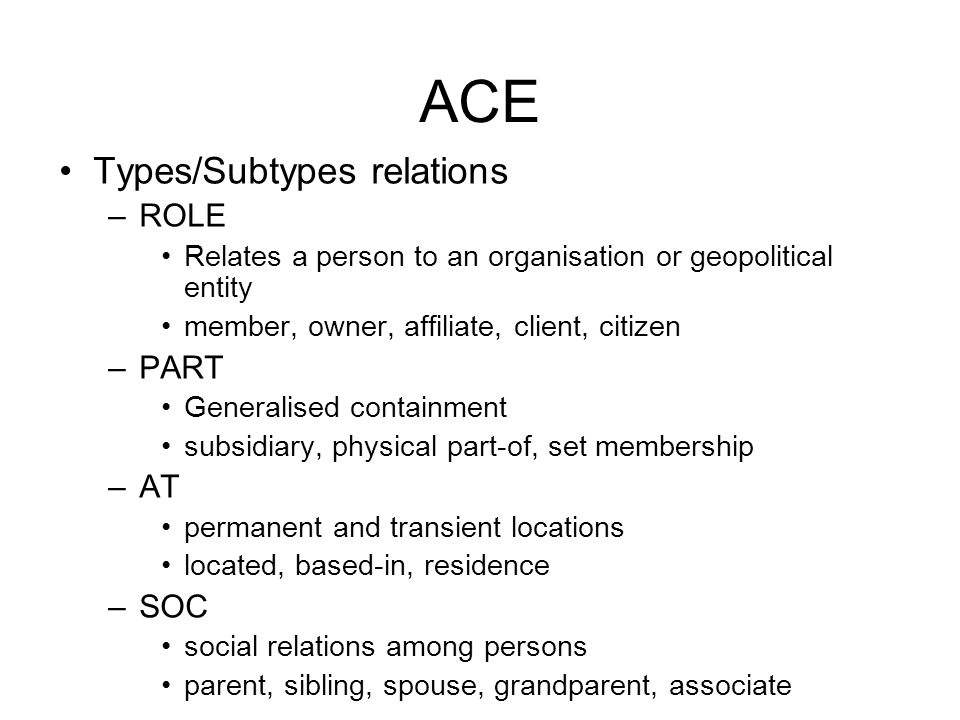 ACE •Types/Subtypes relations –ROLE •Relates a person to an organisation or geopolitical entity •member, owner, affiliate, client, citizen –PART •Generalised containment •subsidiary, physical part-of, set membership –AT •permanent and transient locations •located, based-in, residence –SOC •social relations among persons •parent, sibling, spouse, grandparent, associate