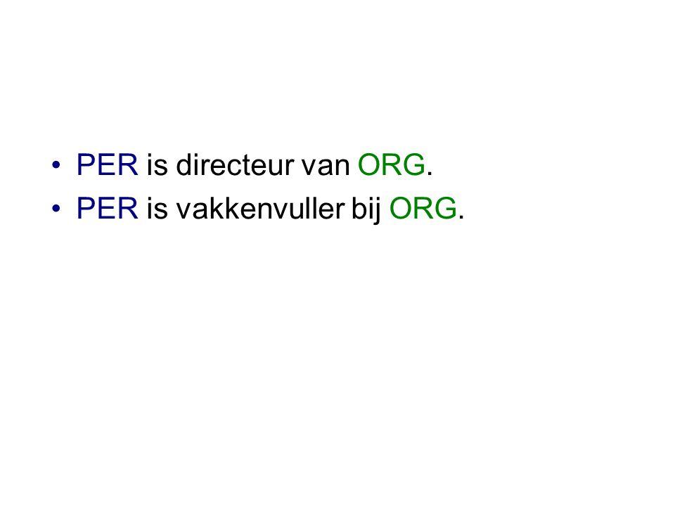 •PER is directeur van ORG. •PER is vakkenvuller bij ORG.