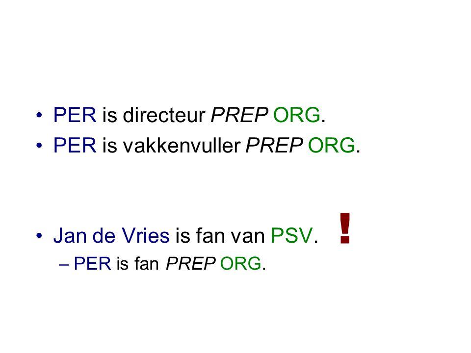 •PER is directeur PREP ORG. •PER is vakkenvuller PREP ORG.