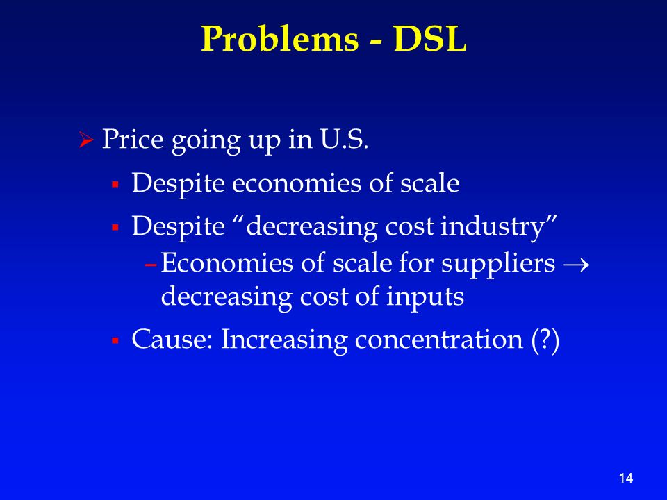 14 Problems - DSL  Price going up in U.S.