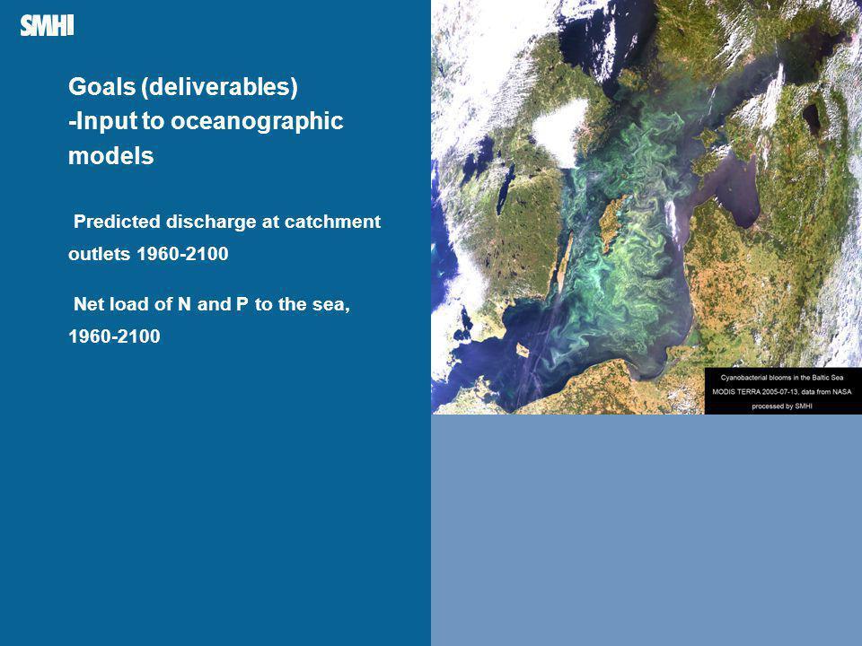 Mellanblå fält till höger: Plats för bild – foto, diagram, film, andra illustrationer Goals (deliverables) -Input to oceanographic models Predicted discharge at catchment outlets 1960-2100 Net load of N and P to the sea, 1960-2100