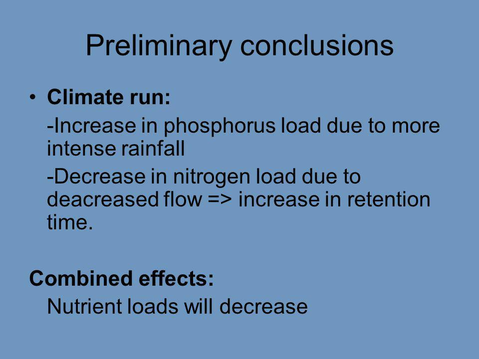 Preliminary conclusions •Climate run: -Increase in phosphorus load due to more intense rainfall -Decrease in nitrogen load due to deacreased flow => increase in retention time.