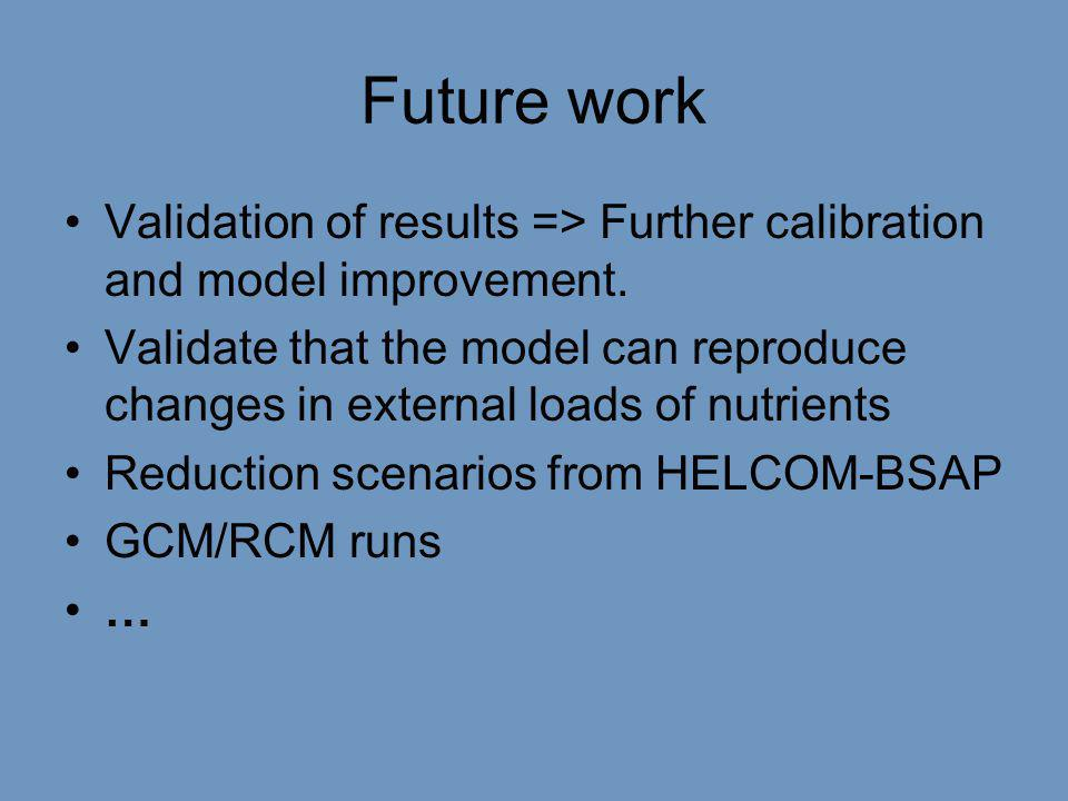 Future work •Validation of results => Further calibration and model improvement.