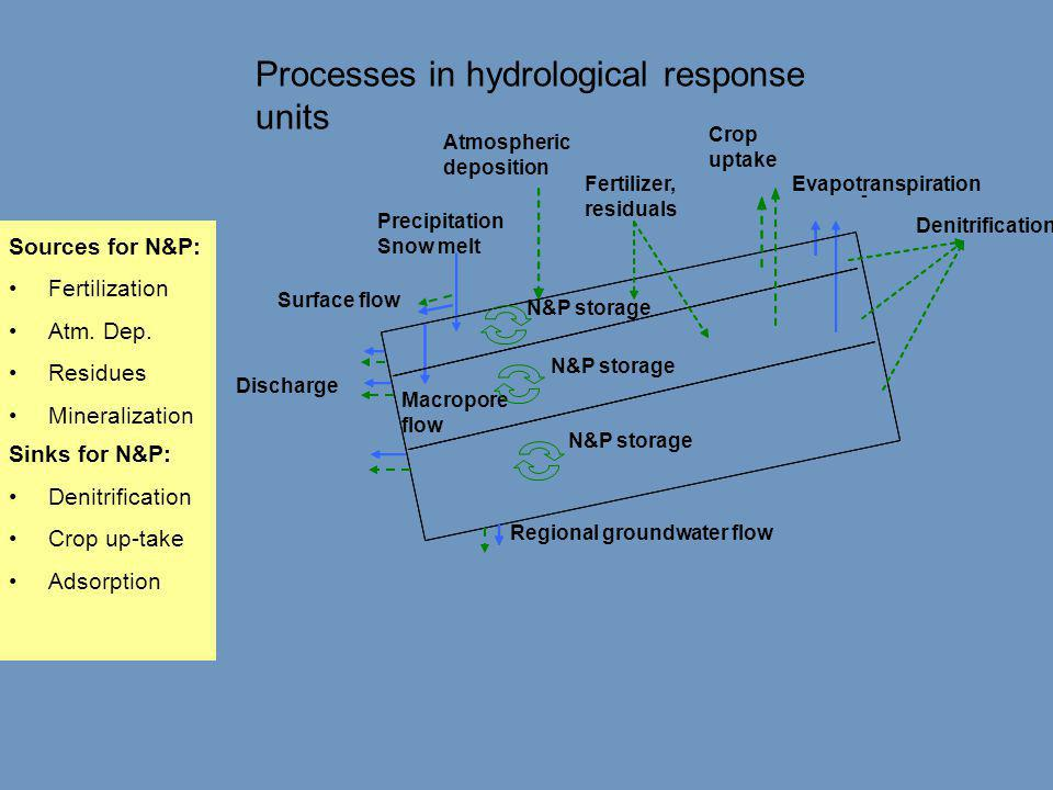 Sources for N&P: •Fertilization •Atm. Dep. •Residues •Mineralization Sinks for N&P: •Denitrification •Crop up-take •Adsorption Fertilizer, residuals -