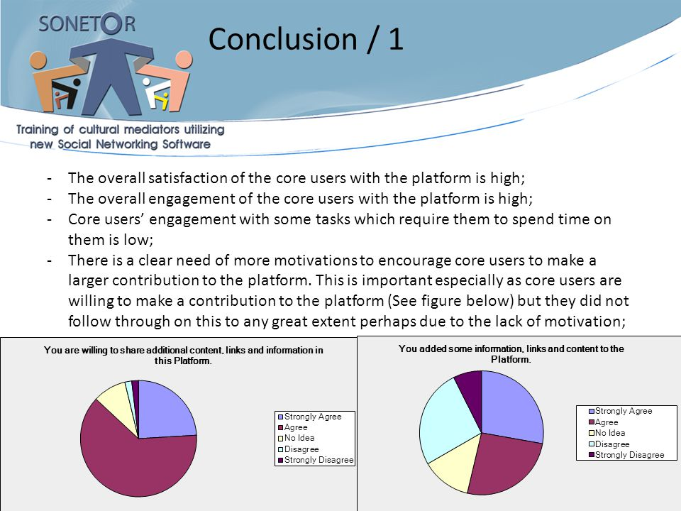 08/01/2014 11 -The overall satisfaction of the core users with the platform is high; -The overall engagement of the core users with the platform is hi