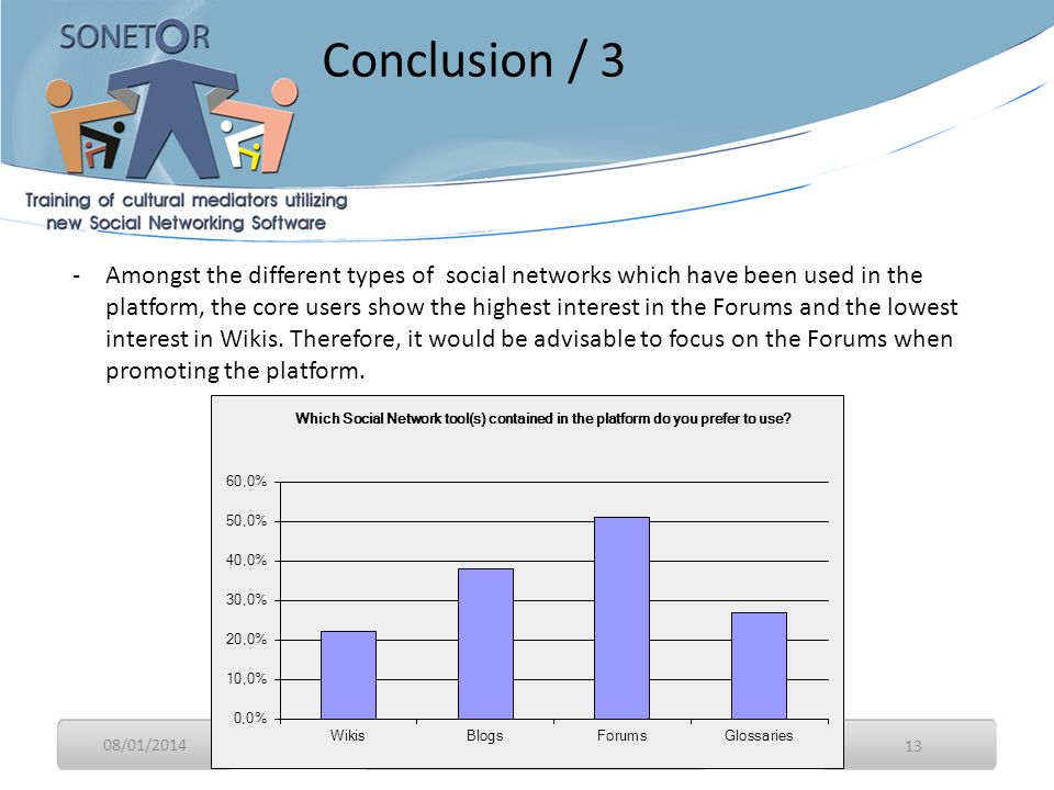 08/01/2014 13 -Amongst the different types of social networks which have been used in the platform, the core users show the highest interest in the Forums and the lowest interest in Wikis.