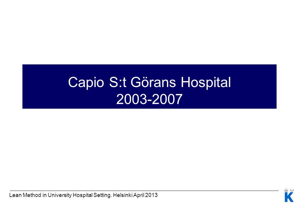 Capio S:t Görans Hospital 2003-2007 Lean Method in University Hospital Setting. Helsinki April 2013