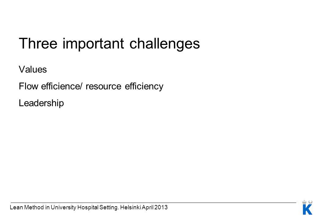 Three important challenges Values Flow efficience/ resource efficiency Leadership Lean Method in University Hospital Setting. Helsinki April 2013