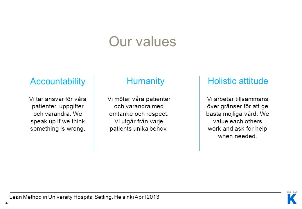 Our values Accountability HumanityHolistic attitude Vi tar ansvar för våra patienter, uppgifter och varandra. We speak up if we think something is wro